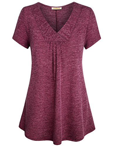 (Baikea Flare Tunic Tops for Women, Ladies Trendy Cross V Neck Short Sleeve Loose Tops Dressy Swing Pleats Center Trapeze Tunic Maternity Shirt with Curved Hemline Wine L)