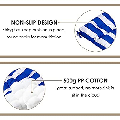 Giantex Indoor/Outdoor High Back Chair Cushion, Non-Slip Rocking Chair Pad Set, Patio Wicker Seat Cushion Tufted Pillow, Spring/Summer Seasonal Swing Glider Seat Replacement Cushions (Blue) : Garden & Outdoor