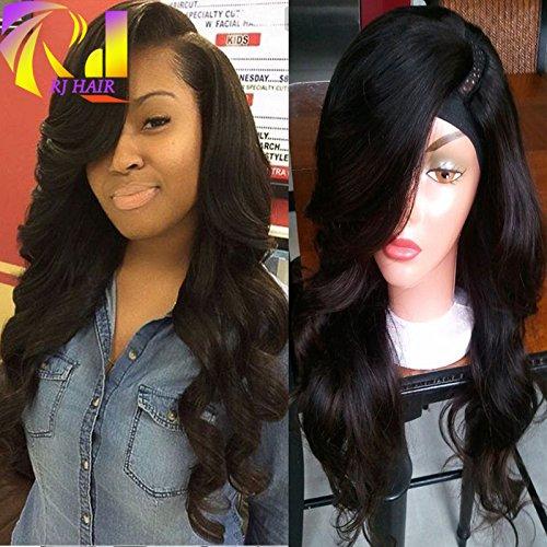 RJ HAIR Left Side Part Wavy U Part Wig 1x4 U Opening Brazilian Virgin Hair U Part Human Hair Wig with Bangs (18inch)