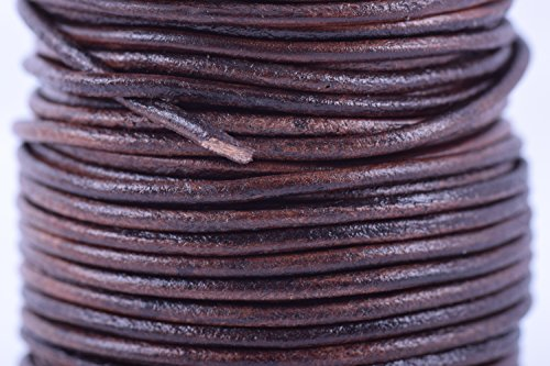 KONMAY 25 Yards Solid Round 2.0mm Rich Brown Genuine/Real Leather Cord Braiding String (2.0mm, Rich Brown) - Leather Braiding Supplies