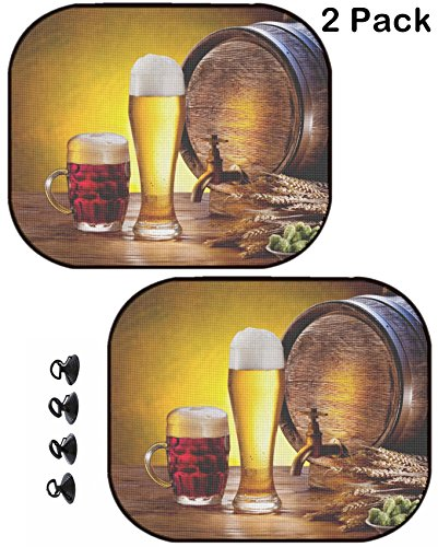 (MSD Car Sun Shade Protector Block Damaging UV Rays Sunlight Heat for All Vehicles, 2 Pack Image ID: 14040100 Beer with Beer Glasses on a Wooden Table The Dark Background)