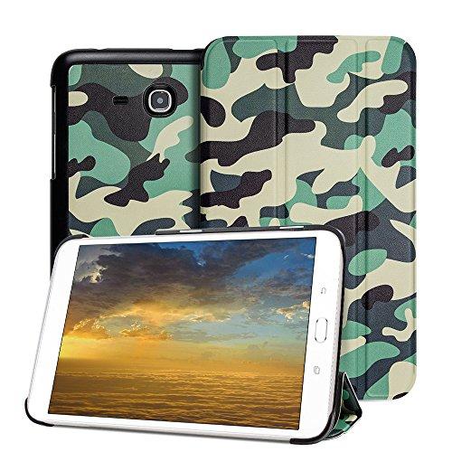 Samsung Galaxy Tab 3 Lite Case- Leafbook Samsung GalaxyTab E Case Ultra Slim Stand Case For Samsung Galaxy Tab E Lite 7.0 & Tab 3 Lite 7.0 Tablet SM-T110 / SM-T111 SM-T113 7-Inch Tablet,Camo Green (7 Inch Camo Tablet Case)