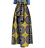 Winwinus Womens African Print Bow Waist Pendulum Dashiki Simple Long Skirt 12 6XL