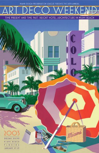 OCEAN DRIVE Miami Beach Florida ART DECO Poster Dated 2003 (LARGE 35