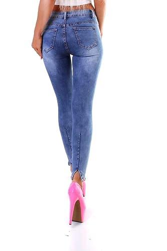 K1025 Damen Jeans Röhre Skinny Stretch Denim Slimfit Perlen Applikationen Ankle