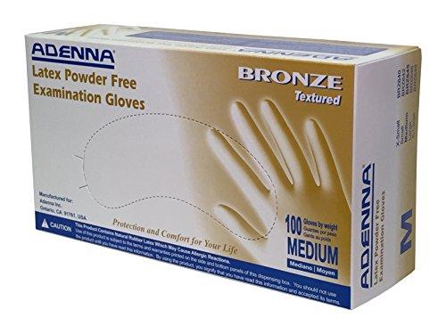 Adenna Bronze 5 mil Latex Powder Free Exam Gloves (White, Medium) Box of 100