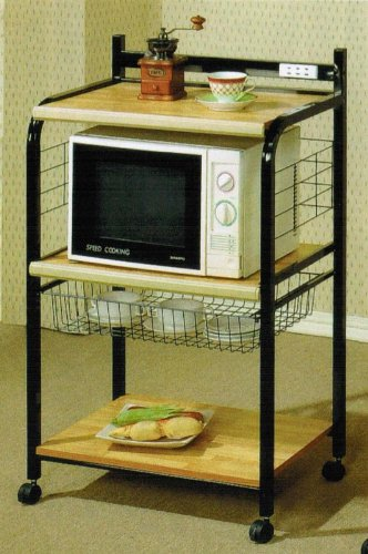 Acme Kitchen Cart Casual Style in Black and Natural Finish