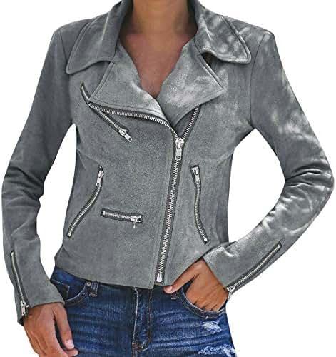 Overcoat for Women Winter Fashion Casual Ladies Retro Zipper Up Bomber Jacket Vintage Coat Outwear Outerwear