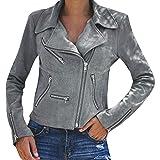 Clearance Sale Womens Retro Rivet Zipper Up Bomber Jacket Ladies Casual Coat Outwear Sunmoot