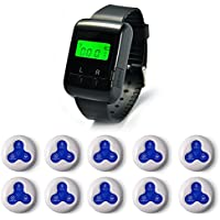 Wireless Calling Systems Waiter Nurse Service Call Caregiver Pagers for Restaurant Nursing Home 1 pc Watch Pager + 10 pcs Call Buttons
