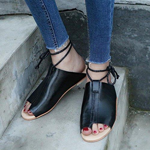 HOT Sale,AIMTOPPY Women Cortex Flat-Bottomed Roman Sandals Open Ankle Flat Straps Platform Wedges Shoes (US:8.5, Black)