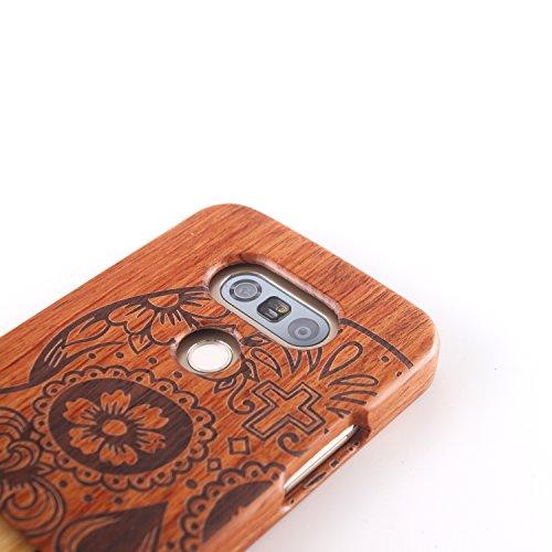 para LG G2 Wood Case, Vandot 2 en 1 Funda Madera Real Rigida Cubierta Carcasa Protectiva Tapa Trasera Anti-Shock Caja del teléfono móvil para LG G2, Diseño del árbol de coco Madera 14