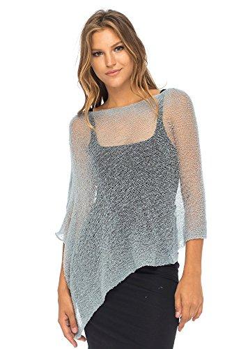 Back From Bali Womens Sheer Poncho Shrug Bolero, Lightweight Summer Shrug Pullover Sweater (Sheer Knit Sweater)