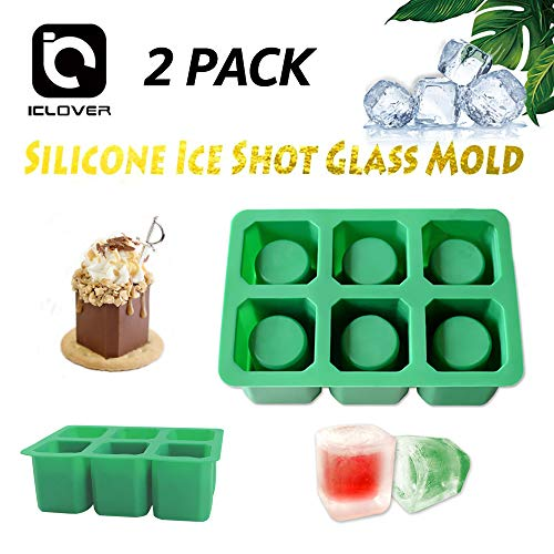 Silicone Shot Glass Ice Mold [2 PACK] IC ICLOVER 6 Cups Square Green Ice Cube Shot Glass Mold,Chocolate Cookie Candy Mold Tray,Food Grade Oven & Dish Washer Safe (2 PACK -