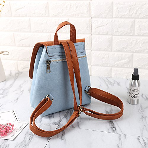 Girls Mini Casual Blue Daypack Leather Backpack PU Small Bag Women Backpack Fashion School 6wARqaZddn