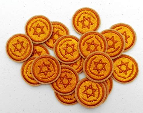 Iron On Patch - Ten Hanukkah Gelt with Star of David (1.52 x 1.52 inches) Iron-on Patch - Iron on Patch - Embroidered Patch