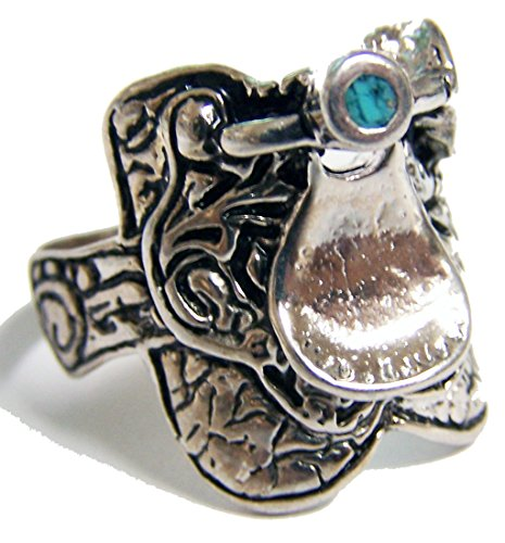 HORSE SADDLE SILVER MENS OR WOMENS DELUXE BIKER RING - SIZE (Saddle Ring)