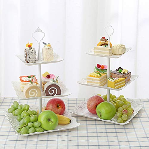 Three-Tier Cake Display Stand Fruit Plate Afternoon Tea Party Serving Platter Cupcake Dessert Stand for Birthday Wedding Decor -