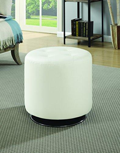 Coaster Contemporary White Round Ottoman