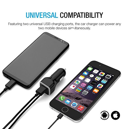 iPhone Car Charger, [Apple MFI Certified] Lighting Car Charger for iPhone X, 8, 8 Plus, 7, 7Plus 6S / 6S Plus, 6, 6 Plus, SE, 5, 5S, iPad Pro, Air 2, Mini 3,with Extra USB Port (Black)