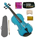 GRACE 1/10 Size Acoustic Blue Violin with Case and Bow+Merano MT60 Metro Tuner+Extra E String+2 Bridges+Rosin