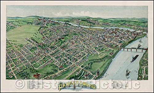 (Historic Map   Parkersburg West Virginia, 1899, T.M. Fowler v2 44in x 27in)