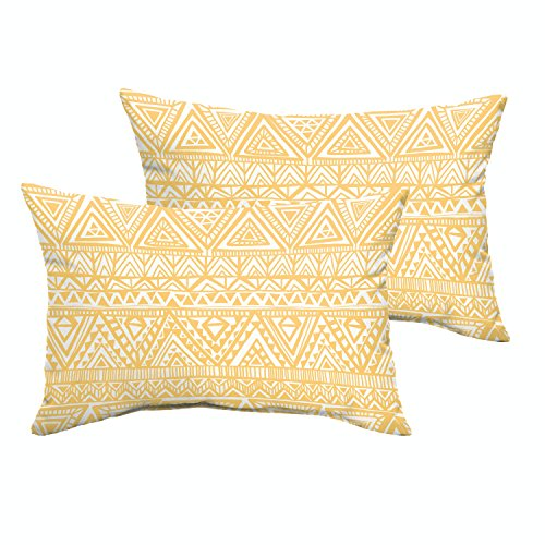 Mozaic AMPS115115 Knife Edge Indoor/Outdoor Rectangle Pillows (Set of 2), Yellow/White Triangle