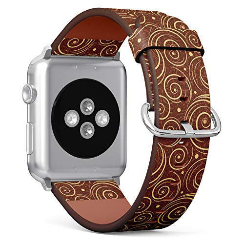 Twirl Steel Watch - Compatible with Apple Watch (Big Version) 42 / 44mm Leather Wristband Bracelet with Stainless Steel Clasp and Adapters -Twirls