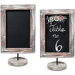 12-Inch Rustic Torched Wood Framed Tabletop Memo & Message Chalkboard, Cafe Menu Board Sign, Set of 2