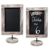 12-Inch Rustic Torched Wood Framed Tabletop Memo & Message Chalkboard, Cafe Menu Board Sign, Set of 2