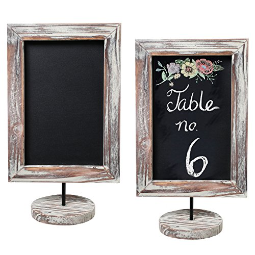 MyGift 12-Inch Rustic Torched Wood Framed Tabletop Memo & Message Chalkboard, Cafe Menu Board Sign, Set of 2 -