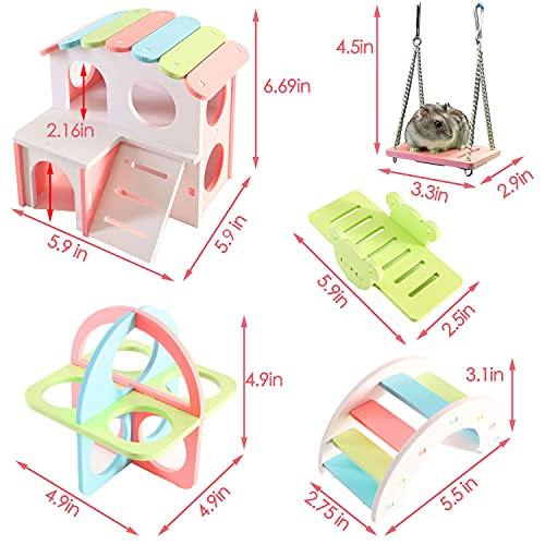 CC XFENG Hamster House, Dwarf Hamster Toys, Small Animal Fitness Equipment, Sugar Glider, Rainbow Bridge Seesaw Swing, Hiding Place, Syrian Hamster Cage and Mouse Habitat Accessories Decoration.