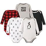 Hudson Baby Baby Long Sleeve Bodysuits, Penguin 5-Pack, 0-3 Months (3M)