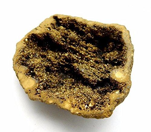 Geode Titanium Treated Gold Colored Aura Calcite - Gorgeous Gold Aura Calcite Geodes (Medium Green Calcite compare prices)