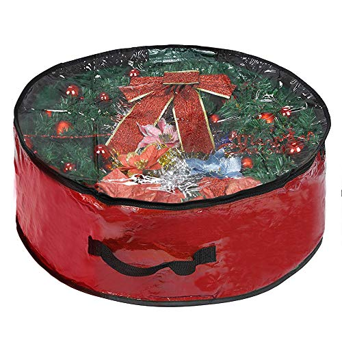 ProPik Wreath Storage Bag Polyester Tear Resistant Fabric for Holiday Easy Storage with Clear Window Featuring Heavy Handel's and Transparent Card Slot 24