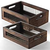 Wooden Nesting Countertop Baskets Set of 2 for