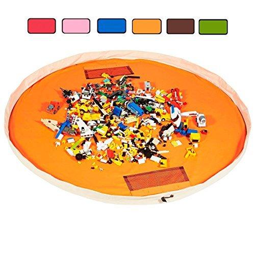 Toy Storage Bag by Block Bag huge play mat Lego organizer soft cotton 60 inch (Orange) - Orange Block Rug