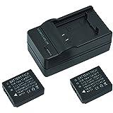 Mondpalast ® 2X Ersatz Qualitäts akku Batterie CGA-S007 CGA S007 CGA-S007A CGA-S007A/1B CGA-S007E DMW-BCD10 1200 mAh 3.7V + Ladegerät für Panasonic Lumix TZ1 TZ2 TZ3 TZ4 TZ5 DMC-TZ1 DMC-TZ2 DMC-TZ3 DMC-TZ4 DMC-TZ5
