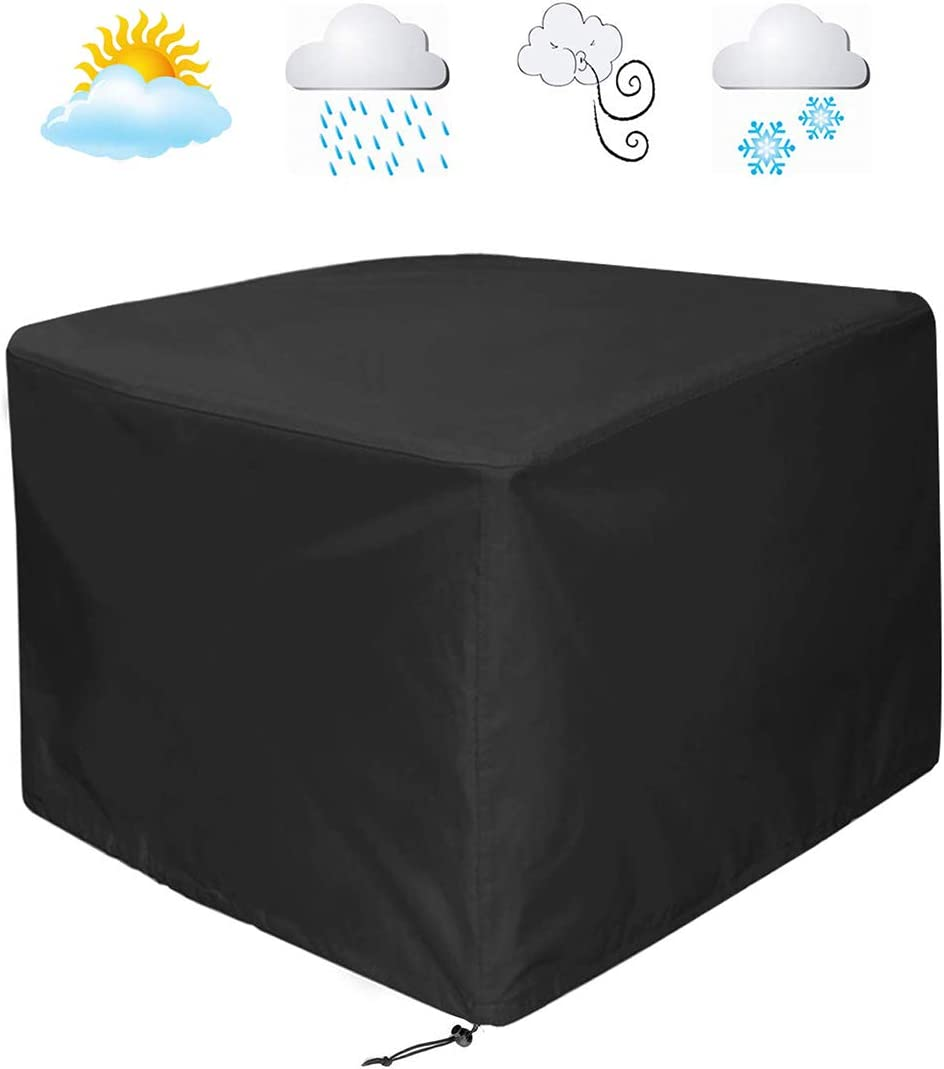 WOMACO Heavy Duty Patio Table Cover, Waterproof Outdoor Furniture Cover 53 x 53 x 29.5 , Black