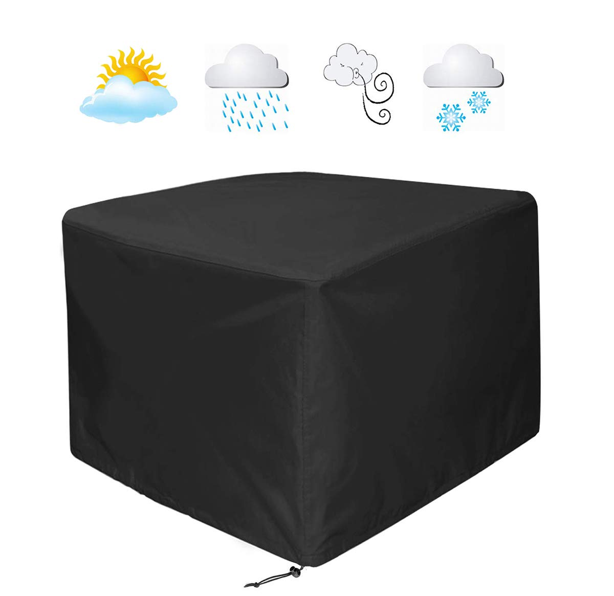 Wondrous Womaco Heavy Duty Square Patio Fire Pit Table Cover Waterproof Outdoor Furniture Cover 48 X 48 X 29 Black Spiritservingveterans Wood Chair Design Ideas Spiritservingveteransorg
