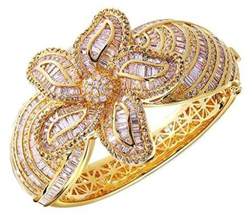 AnaZoz Femme Bracelet Mariage Noble Élégant Incrusté Zircon Cubique Fleur Design Plaqué Or Doré Noël valentin