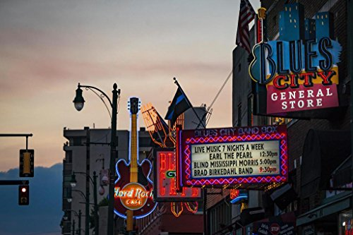 (Neon Signs on Beale Street Memphis Tennessee Photo Art Print Mural Giant Poster 54x36 inch)