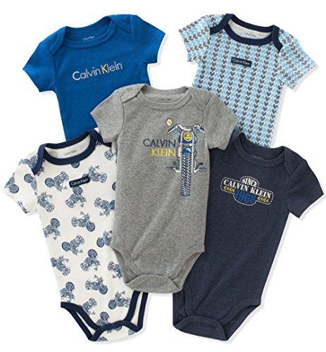 Calvin Klein Baby Boys' 5 Pack Bodysuits, Navy/Blue/Grey, 0-3 Months