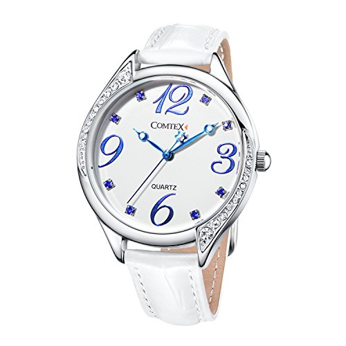 Comtex Women Watches Analog-Quartz Crystals-studded Dial Lady Wrist Watch with White Leather Strap Ladies Wristwatches