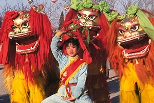 Posterazzi Girl Playing Lion Dance for Chinese New Year Beijing China Poster Print by Keren Su (18 x 12)