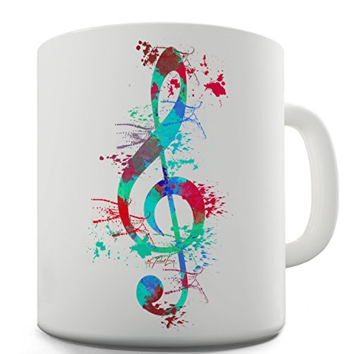 Treble Clef Paint - Twisted Envy Treble Clef Paint Splats Ceramic Novelty Gift Mug