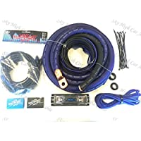 Oversized 1/0 Ga CCA AWG Amp Kit Triple Shielded RCA Blue Black Complete Sky High