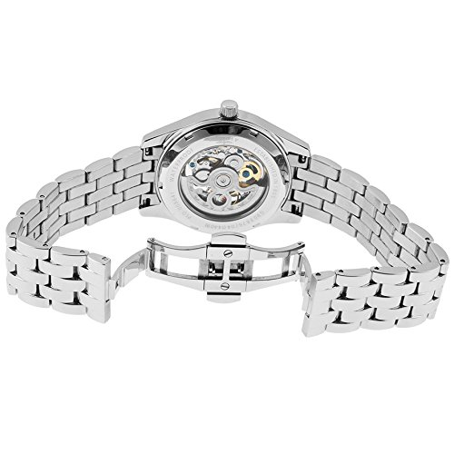 Rotary Men's Silver-Tone Steel Silver-Tone and Black Skeletonized Dial