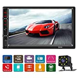 Double din car Stereo with Bluetooth 7 inch Car Radio with Backup Camera Touch Screeen AM-FM Radio Support USB/SD with Wireless Remote Control
