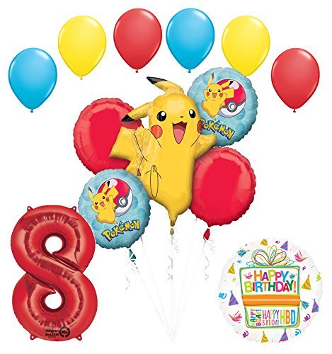 Pokemon 8th Birthday Party Supplies and Balloon Bouquet Decorations -